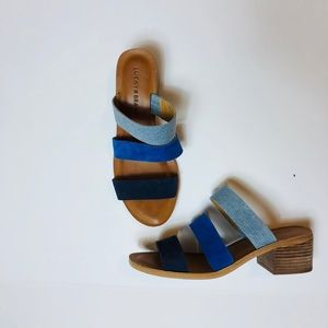 Lucky Brand Suede and Chambray Mule Sandals